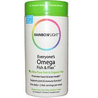 Rainbow Light, Омега-3 рыбий жир и льняное масло для всех, 60 капсул