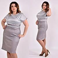 Платье футляр больших размеров 0479 серое