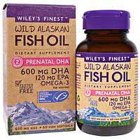 Wileys Finest, Аляскинский рыбий жир, пренатальная ДГК, 600 мг, 60 рыбных мягких капсул