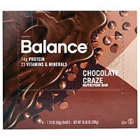 Balance Bar, Батончик Здорового Питания, Шоколадная Мания, 6 батончиков, 1,76 унции (50 г) каждый
