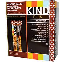 KIND Bars, Kind Plus, Фруктово-ореховые батончики с миндалем, грецким орехом, макадамией и ананасом, обогащенные белком, 12 батончиков, 1,4унции (40г)