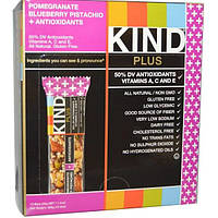KIND Bars, Батончики Plus, гранат, фисташки, черника + антиоксиданты, 12 батончиков, 1,4 унции (40 г) каждый