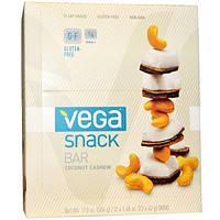 Vega, Snack Bar, Батончики с кокосом и кешью, 12 батончиков, 1,48 унции (42 г) каждый