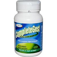 Enzymatic Therapy, CompleteGest, комплекс ферментов для пищеварения, 90 растительных капсул