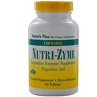 Natures Plus, Ферменты Nutri-Zyme, жевательные таблетки с натуральной мятой, 90 таблеток