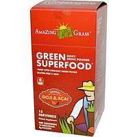 Amazing Grass, Зеленый суперпродукт, ягодный настворимый напиток, 15 отдельных пакетиков по 8 г