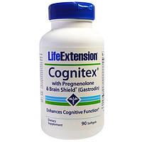 Life Extension, Биодобавка Cognitex с прегненолоном для восстановления мозговой деятельности (Гастродин), 90 желатиновых капсул
