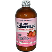 American Health, Пробиотик ацидофилус с натуральным клубничным вкусом, 472 мл