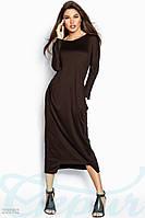 Весеннее трикотажное платье коричневый
