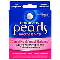 Enzymatic Therapy, Пробиотические горошины для женщин, поддерживающие пищеварительную систему и микрофлору, 30 мягких капсул