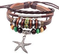 Кожаный браслет с подвеской Морская звезда (tb2027)