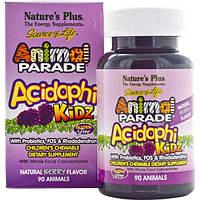Natures Plus, Source of Life, Animal Parade, AcidophiKidz , детские жевательные конфеты, натуральный ягодный вкус, 90 жевачек в форме животных