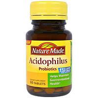 Nature Made, Пробиотик с молочнокислыми бактериями, 60 таблеток