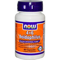 Now Foods, Ацидофилин 4х6, 60 капсул