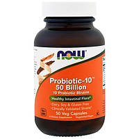 Now Foods, Пробиотик-10 50 миллиардов, 50 капсул на растительной основе