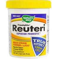 Natures Way, Примадофилус, Супер пробиотик Реутери, порошок, содержащий несколько штаммов + scFOS, 141,75 г