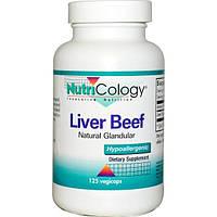 Nutricology, Коровья печень, натуральный экстракт железы, 125 капсул на растительной основе