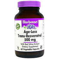 Bluebonnet Nutrition, Антивозрастная добавка Транс-Ресвератрола Age-Less, 500 мг, 60 капсул