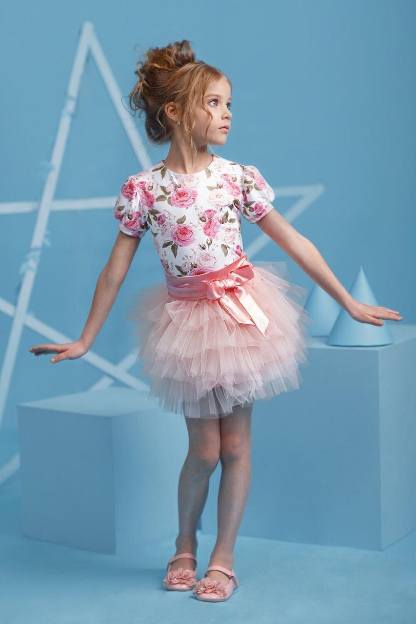"""Детский нарядный костюм для девочки """"Розовый мотив"""""""