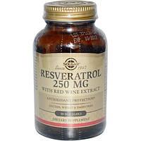 Solgar, Ресвератрол, 250 мг, 30 мягких желатиновых капсул