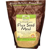 Now Foods, Real Food, сертифицированная органическая, пища с льняным семенем, 22 унции (624 г)