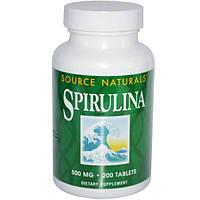 Source Naturals, Спирулина, 500 мг, 200 таблеток