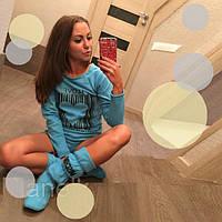 Комплект одежды для дома : Пайта  Шорты  Сапожки  D  77217  Голубой