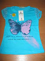 Детская футболка  Бабочка для девочки 1-4 года Турция хлопок