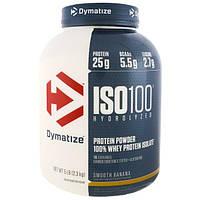 Dymatize Nutrition, ISO 100 гидролизованный 100%-ый белковый сывороточный изолят, банановый вкус, 2,27 кг (5 фунтов)