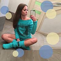 Комплект одежды для дома : Пайта  Шорты  Сапожки  D  77217  Бирюза