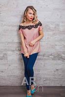 Легкая красивая блуза футболка женская 44-46-48, доставка по Украине