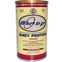 Solgar, Whey To Go, сывороточный порошковый белок, натуральный ванильный вкус, 12 унций (340 г)