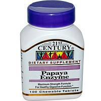 21st Century, Ферменты папайи (Papaya Enzyme), 100 жевательных таблеток