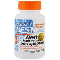 Doctors Best, Высокоэффективная серрапептаза (Best High Potency Serrapeptase), 120 000 SPU, 90 растительных капсул