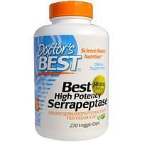 Doctors Best, Лучшая высокоэффективная серрапептаза , 120,000 SPUs, 270 растительных капсул