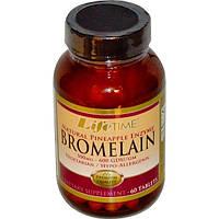 Life Time, Бромелайн, натуральный фермент ананаса, 500 мг, 60 таблеток