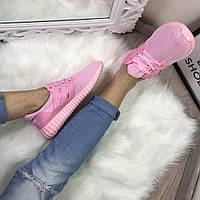 Розовые текстильные кроссовки ,, кеды женские  интернет магазин