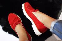 Стильные женские комфортные туфли- лоферы от TroisRois  из натурального турецкого замша 2.5, Без застежки, нату, Красный