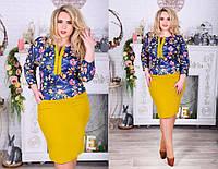 Женское весеннее платье с цветами батал
