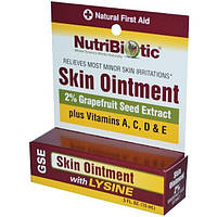 NutriBiotic, Мазь для кожи, 2 % экстракта семян грейпфрута и лизина, 0,5 жидкой унции (15 мл)
