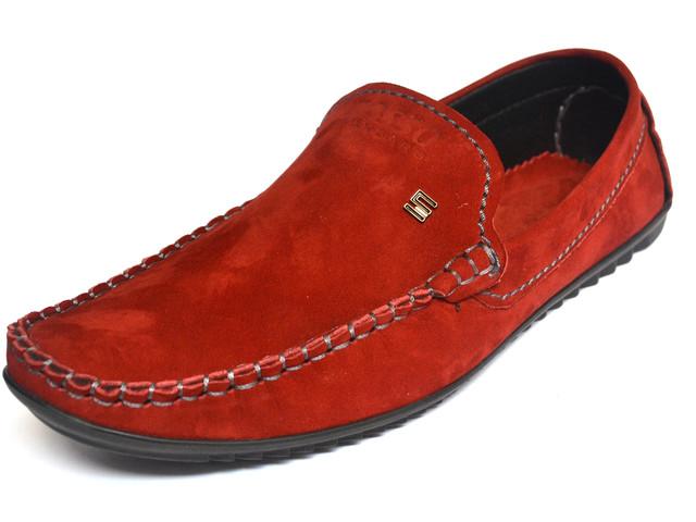 Замшевые мокасины мужские красные Rosso Avangard Alberto Red
