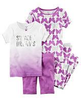 Набор хлопковых пижам Сладкие сны Картерс 4-Piece Snug Fit Cotton PJs