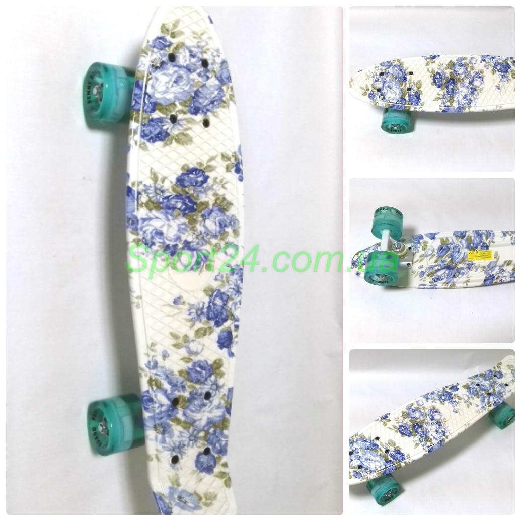 Пенни борд Голубые розы светящиеся колеса (Penny board, PU light колеса)