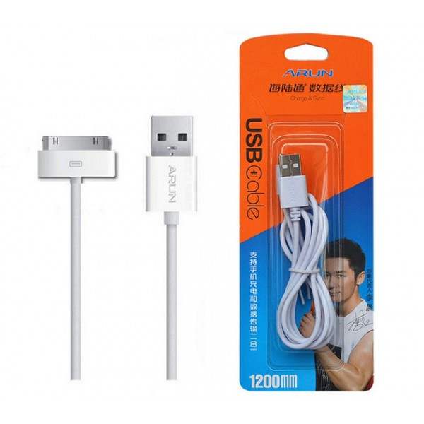 USB Кабель 30-pin Arun для Apple iPhone 3, 4, iPad 1, 2, 3 White