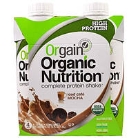 Orgain, Органический питательный полный белковый коктейль, холодное кофе мокка, 4 шт. в упаковке, 11 жидк. унц. (330 мл)