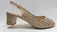 Лаковые босоножки на низком каблуке. Большие ( 40 - 43 ) размеры., фото 1