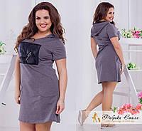 Платье-мини с карманами, батал