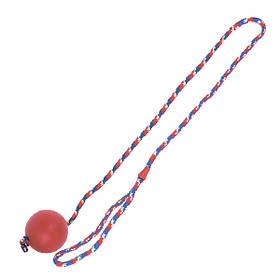КАРЛИ-ФЛАМИНГО игрушка для собак, мяч из литой резины на веревке, 6,3 см