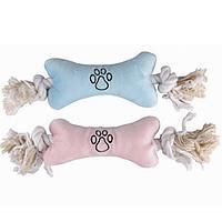 КАРЛИ-ФЛАМИНГОPUPPY мягкая игрушка для щенков в виде косточки с веревочными ручками, 22х75х4 см