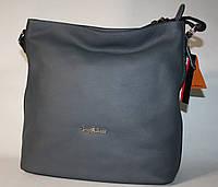 Женская сумка Tony Bellucci серая черная натуральная кожа